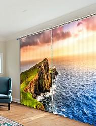 cheap -Sunset Digital Printing 3D Curtain Shading Curtain High Precision Black Silk High Quality Curtain