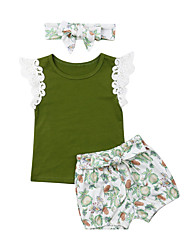 cheap -Baby Girls' Active Solid Colored / Print Print Sleeveless Long Short Clothing Set Green