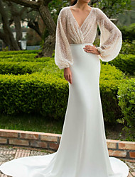 cheap -Mermaid / Trumpet Wedding Dresses V Neck Court Train Satin Long Sleeve Simple Backless Illusion Sleeve with 2021