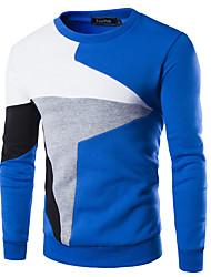 cheap -Men's Color Block Long Sleeve Pullover Sweater Jumper, Round Black / Blue / Light gray US34 / UK34 / EU42 / US36 / UK36 / EU44