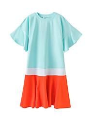 cheap -Kids Girls' Boho Street chic Color Block Short Sleeve Midi Dress Light Blue