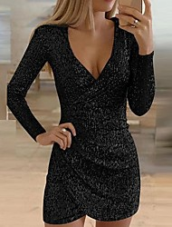 cheap -Women's Cocktail Party Going out Sexy Sheath Dress - Solid Colored Sequins Ruched Glitter Deep V Black Wine Gold S M L XL