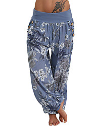 cheap -Women's Yoga Pants Harem Print Dusty Blue White Sky Blue Army Green Red Dance Fitness Gym Workout Bloomers Plus Size Sport Activewear Breathable Moisture Wicking Quick Dry Stretchy Loose