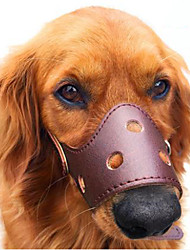 cheap -Dog Muzzle Anti Bark Solid Colored Genuine Leather Brown