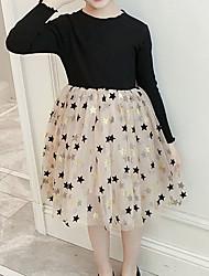 cheap -Kids Girls' Color Block Long Sleeve Knee-length Dress Black