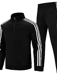 cheap -Men's Side-Stripe 2-Piece Cotton Tracksuit Sweatsuit 2pcs Winter Mandarin Collar Running Fitness Gym Workout Thermal / Warm Breathable Sportswear Plus Size Clothing Suit Long Sleeve Activewear High