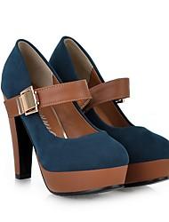 cheap -Women's Heels Chunky Heel Round Toe PU Spring Black / Green / Blue / Daily