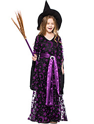 cheap -Witch Halloween Props Masquerade Kid's Girls' Halloween Halloween Festival Halloween Masquerade Festival / Holiday Tulle Terylene Purple Carnival Costumes Stars / Skirt / Hat / Waist Belt