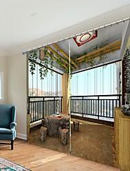 cheap -Balcony Decoration Digital Orinting 3D Curtain Shading Curtain High Precision Black Silk Fabric High Quality Curtain