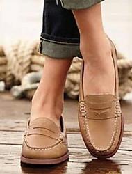 cheap -Women's Loafers & Slip-Ons Flat Heel Round Toe PU Fall & Winter Black / Brown / Khaki