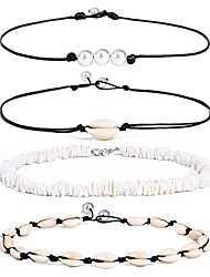 cheap -Women's Necklace Layered Shell Vintage Trendy Fashion Boho Cord Imitation Pearl Shell Black 44 cm Necklace Jewelry 4pcs For Gift Daily Holiday Festival