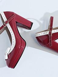 cheap -Women's Boots Chunky Heel Round Toe PU Summer Black / Purple / Red