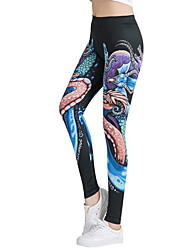 abordables -Femme Taille Haute Pantalon de yoga 3D Print Noir Jaune / noir. Violet Pourpre foncé Orange Fitness Entraînement de gym Collants Leggings Sport Tenues de Sport Respirable Evacuation de l'humidit