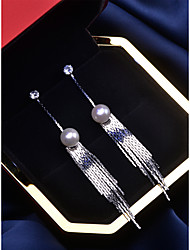 cheap -Women's White Freshwater Pearl Drop Earrings Tassel Vertical / Gold bar Dangling Fashion Silver Earrings Jewelry Gold / Silver For Party Daily 1 Pair