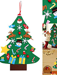 cheap -Kids DIY Felt Christmas Tree with Ornaments Children New Year Gifts for Christmas Door Wall Hanging Decoration
