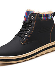 cheap -Men's Combat Boots PU Winter Casual Boots Warm Booties / Ankle Boots Black / Blue / Khaki