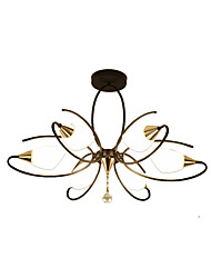 cheap -6-Light Antique Chandeliers 6 Lights Semi Flush Chandelier Ambient Light Painted Finishes Metal Glass Ceiling Lighting for Bedroom / Living Room / Porch