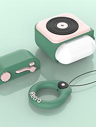 Недорогие -Airpods гарнитура для airpods беспроводная Bluetooth-гарнитура силиконовый чехол мультфильм ретро фонограф крышка 1 шт.
