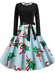 cheap -Women's Swing Dress - Long Sleeve Geometric Basic Christmas Party Daily Wear Light Blue S M L XL XXL