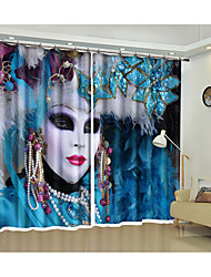 cheap -Halloween Cosmetic Ball 3D Digital Printed Curtain Creative Curtain Shading Curtain High Precision Black Silk Fabric High Quality First Class Shading Bedroom Curtain