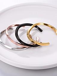 cheap -Women's Bracelet Bangles Cuff Bracelet Bracelet Geometrical Alphabet Shape Simple Fashion Titanium Steel Bracelet Jewelry Black / Rose Gold / Gold For Graduation Gift Daily School
