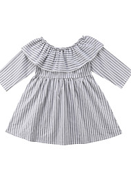 cheap -Baby Girls' Active White Striped Ruffle Long Sleeve Dress White