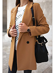 Недорогие -Жен. Повседневные Наступила зима Длинная Пальто, Однотонный Рубашечный воротник Длинный рукав Полиэстер Черный / Светло-серый / Хаки