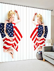 cheap -Women Sleeping Under The American Flag Digital Printing 3D Curtain Shading Curtain High Precision Black Silk Fabric High Quality Curtain