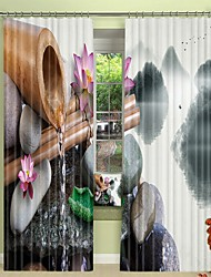 cheap -Bamboo Tube Spring Digital Printing on Pebble 3D Curtain Shading Curtain High Precision Black Silk Fabric Curtain