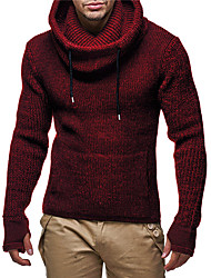 cheap -Men's Solid Colored Long Sleeve EU / US Size Pullover Sweater Jumper, Hooded Black / Wine / Navy Blue US32 / UK32 / EU40 / US34 / UK34 / EU42 / US36 / UK36 / EU44
