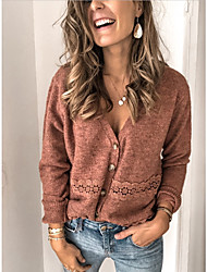 cheap -Women's Solid Colored Long Sleeve Cardigan Sweater Jumper, V Neck Camel M / L / XL