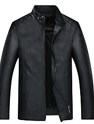 cheap -Men's Daily Fall & Winter Regular Leather Jacket, Solid Colored Stand Long Sleeve PU Black / Red / Brown