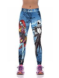 cheap -Zombie Pants Adults' Couple's Unitards Halloween Halloween Festival / Holiday Spandex Polyster Black / Sky Blue / Orange Couple's Carnival Costumes / Catsuit