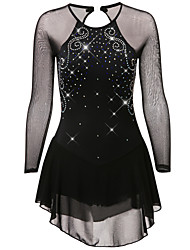 cheap -Figure Skating Dress Women's Girls' Ice Skating Dress Black Dark Purple Yellow Spandex Stretch Yarn High Elasticity Training Competition Skating Wear Quick Dry Anatomic Design Handmade Classic Long
