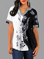 cheap -Women's Floral Blouse Street chic Daily Wear V Neck Black