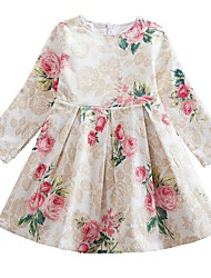 cheap -Kids Girls' Floral Dress Beige