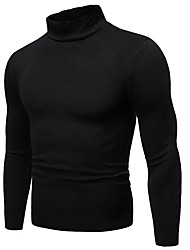 cheap -Men's Solid Colored Long Sleeve Pullover Sweater Jumper, Turtleneck Black / White / Red US32 / UK32 / EU40 / US34 / UK34 / EU42