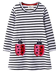 cheap -Kids Little Girls' Dress Striped White Dresses
