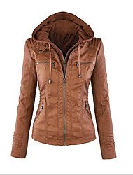 cheap -Women's Daily / Weekend Vintage / Street chic Spring / Fall Regular Leather Jacket, Solid Colored Hooded Long Sleeve PU / Cotton / Polyester Black / Brown / Light Brown
