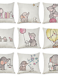 cheap -Set of 9 Linen Pillow Cover, Animal Graphic Prints Casual European Throw Pillow