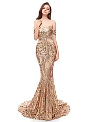 cheap -Mermaid / Trumpet Off Shoulder Court Train Polyester / Sequined Sparkle & Shine / Elegant Formal Evening Dress 2020 with Sequin