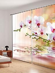 cheap -Water White Phalaenopsis Digital Printing 3D Curtain Shading Curtain High Precision Black Silk Fabric High Quality Curtain