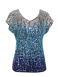 cheap -Corrina victorian Victorian Vintage Inspired Party Costume T-shirt Women's Sequins Sequin Costume Blue Vintage Cosplay Party Halloween Short Sleeve