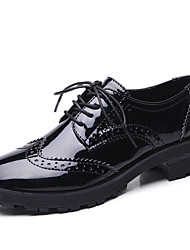 cheap -Women's Oxfords Chunky Heel Round Toe Patent Leather British Spring & Summer / Fall & Winter Black / Black / Blue
