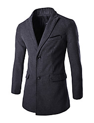 cheap -Men's Daily / Work Street chic Fall & Winter Regular Trench Coat, Solid Colored Peaked Lapel Long Sleeve Polyester Black / Gray