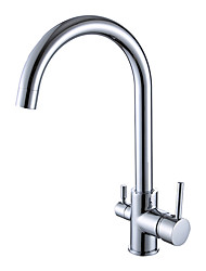 cheap -Kitchen faucet - Two Handles One Hole Electroplated Standard Spout Centerset Contemporary / Antique Kitchen Taps