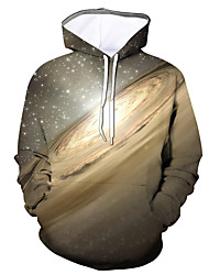 cheap -Men's Party / Active Hoodie - Solid Colored / Color Block / Star Brown US32 / UK32 / EU40
