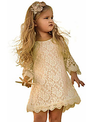 cheap -Kids Toddler Girls' Sweet Solid Colored Floral Lace 3/4 Length Sleeve Above Knee Dress Wine