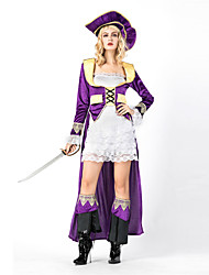 cheap -Pirate Cosplay Costume Women's Halloween Festival / Holiday Polyester Purple Women's Carnival Costumes / Dress / Hat / Dress / Hat