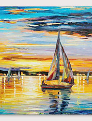 cheap -IARTS®Hand Painted Sailboat Oil Painting   with Stretched Frame For Home Decoration